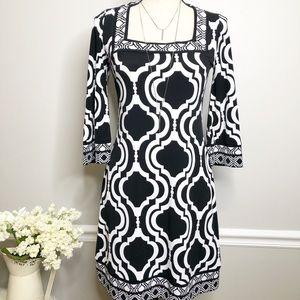 WHBM 3/4 sleeve Geometric midi Dress size XS